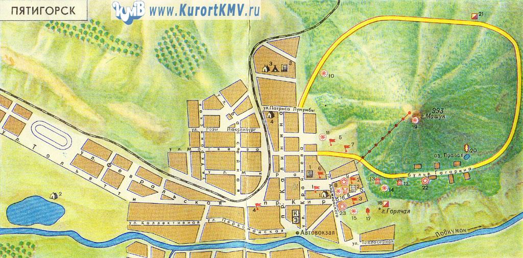 Туристическая карта Пятигорска
